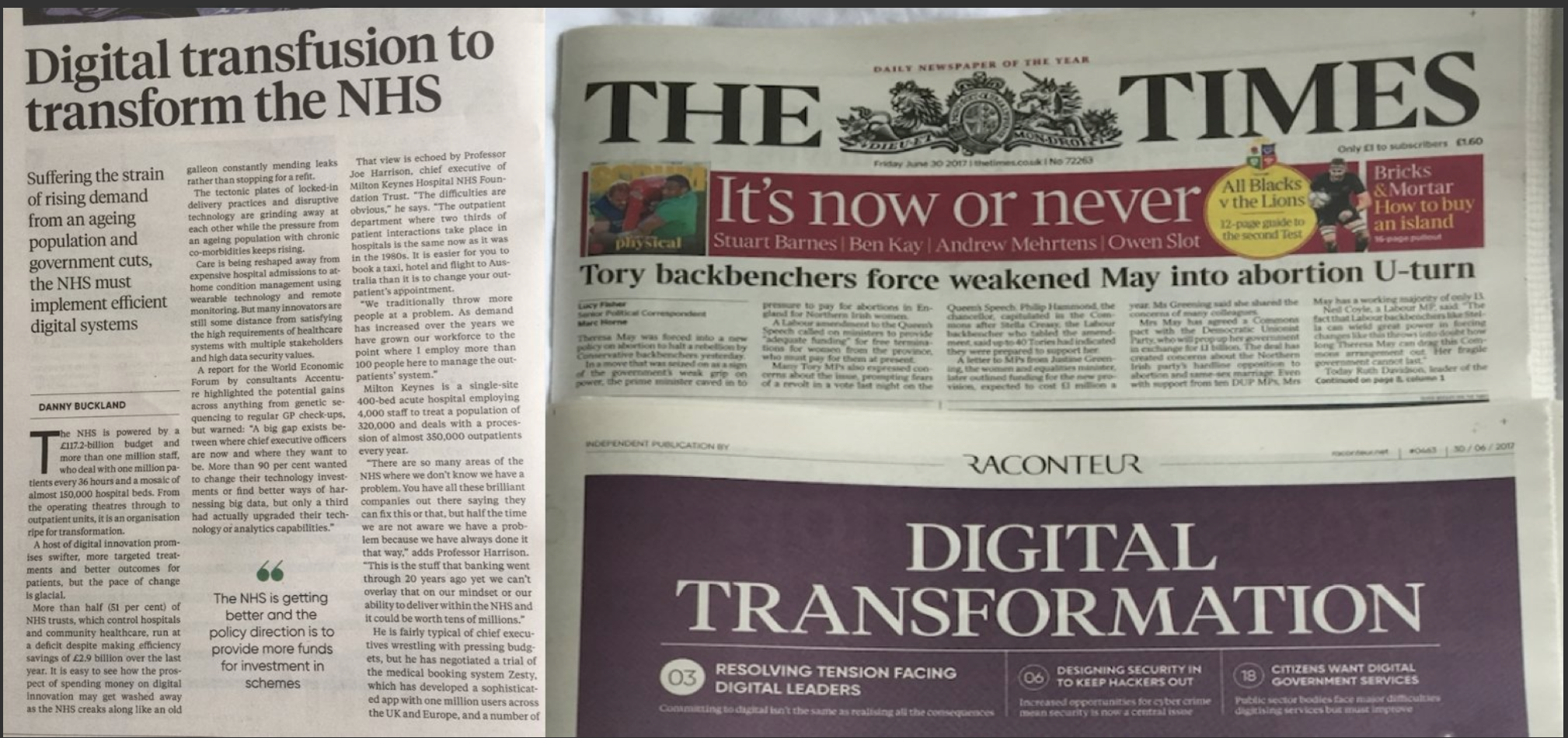 "Zesty featured in The Times newspaper - ""the NHS must implement efficient Digital systems"""